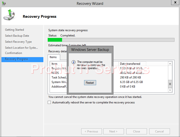 Non-Authoritative Restore of System State Backup of Windows Server 2012 R2